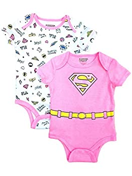 Supergirl I Save The Day 2 Pack Bodysuit 12 Months Pink