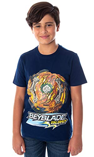 Beyblade Burst Boys' Wizard Fafnir Spinner Top Kids Short Sleeve T-Shirt Tee (MD, 8)