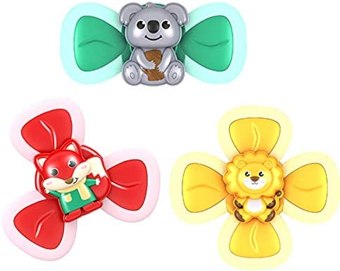 Baby Bath Spinner Toy 3Pcs Baby Bath Toys Cartoon Animal Rotating Suction Cups Eating Suction product image