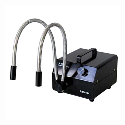 AmScope HL150-BY 150w Dual Gooseneck Fiber Optic Microscope Illuminator