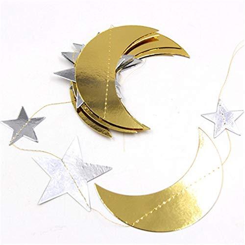 Ltjqsm Cortina de Papel Decoración de la Boda Decoración de la Pared Eid Mubarak Ramadán Decoración de la decoración de la decoración de la Luna Estrellas de la Luna Colgando String Banner Guirnal