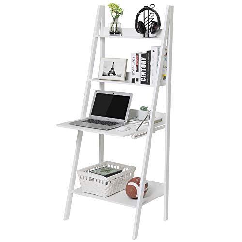 Itaar Leiterregal Standregal Bücherregal mit 4 Ebenen, Leiterregal mit Schreibtisch, Wandregal Badregal, Weiß