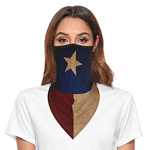 Vintage Texas Flag Bandana Face Mask with Ear Loops Neck Gaiter for Women Men Balaclava Face Cover Scarf