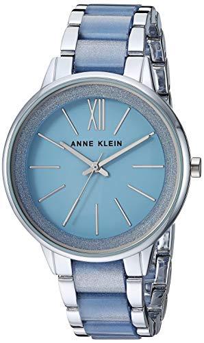 Anne Klein Women's AK/1413LBSV Silver-Tone and Light Blue Resin Bracelet Watch