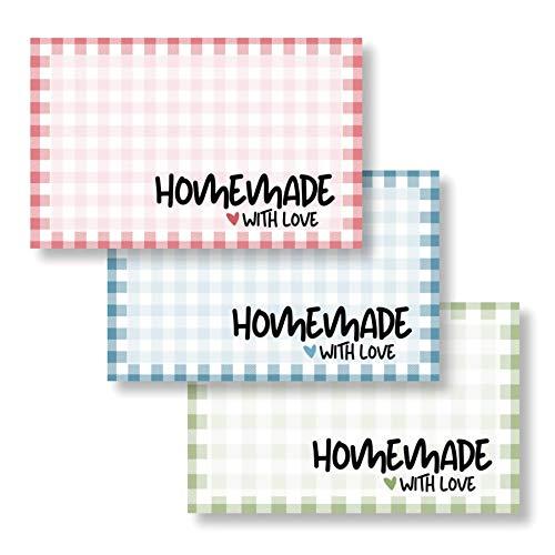 3er Set Etiketten Marmelade (75 Stk. - 5,5x3,5cm klein) - Homemade Aufkleber - Selbstklebend, ablösbare Sticker - Klebeetiketten zum Beschriften - Einmachetiketten in Karo Optik - Rund