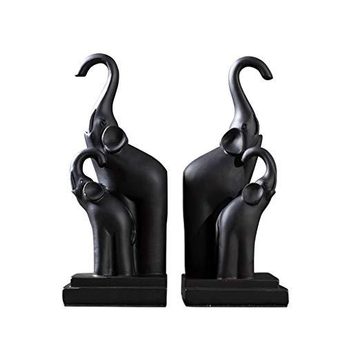 Z-SEAT Style européen résine éléphant Chanceux Serre-Livres créative Fin de Livre Statues décoration de Table, Fait à la Main, 25 cm, Ensemble de Deux