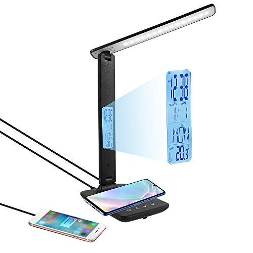 Lámpara de escritorio LED con cargador QI inalámbrico y USB, lámpara de escritorio ajustable flexible, control táctil, pantalla LCD con funciones hora, alarma y temperatura (negro)