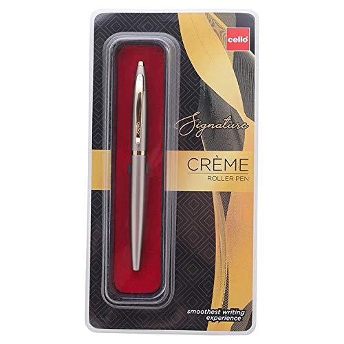 Cello Signature Creme Ivory Roller Pen | Bolígrafo de metal premium | Adecuado para regalar | Bolígrafo de escritura suave construido con latón premium | Lápiz elegante