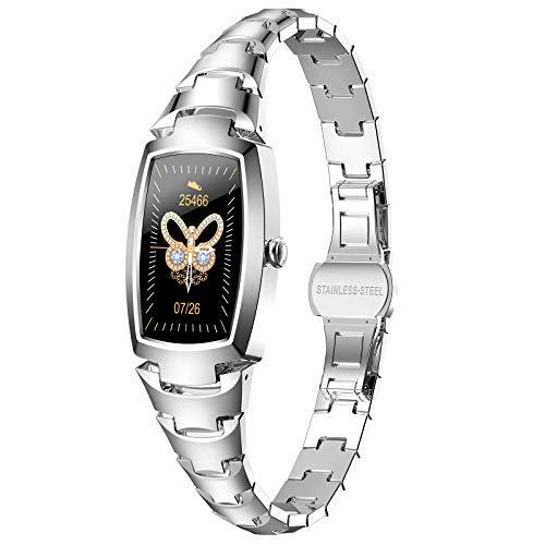 Huahua Damen Smartwatch, Fitness Armband,Armbanduhr Fitness Tracker Wasserdicht,Mit Herzfrequenzmesser Schlafmonitor SchrittzäHler,FüR Android/Ios FüR Damen