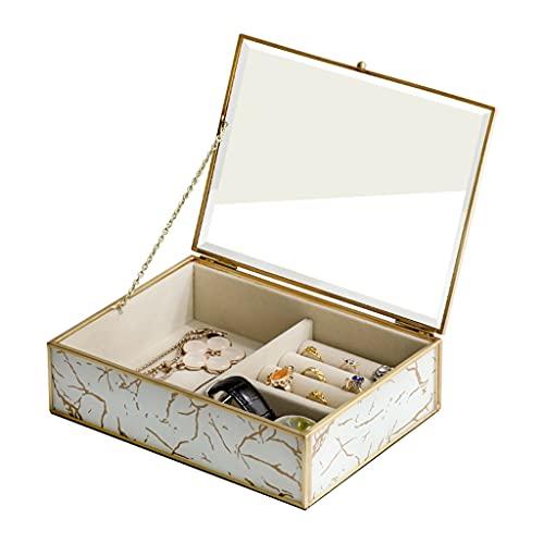 cajas para joyas Caja De Almacenamiento De Latón Joyero De Vidrio De Latón Caja De Almacenamiento De Escritorio Cosmético Joyero Retro (Color : Metallic, Size : 20.2 * 15 * 5.8cm)