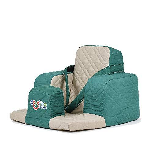 Carolina der Kindersitz für Kleinkinder und Neugeborene, ergonimische Sitzposition für eine gesunde Haltung - Farbe grün und Sand
