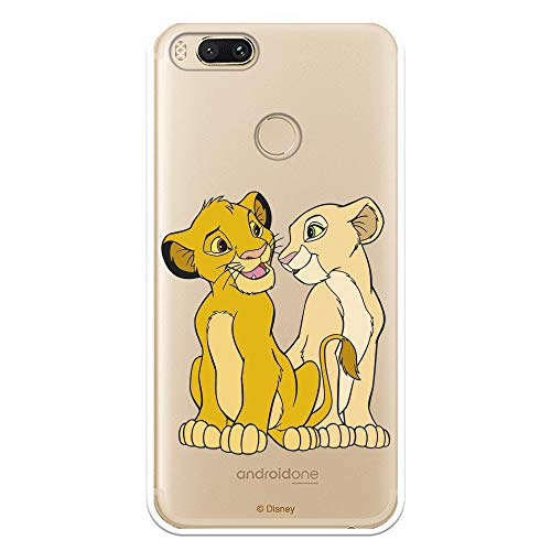 Funda para Xiaomi Mi A1-Mi 5X Oficial de El Rey León Simba y Nala Silueta para Proteger tu móvil. Carcasa para Xiaomi de Silicona Flexible con Licencia Oficial de Disney.