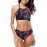 Lujoso Oro Pintura Líquida Mármol Geométrico Bikini Correa Trajes De Baño Cuello Redondo Mujeres Halter Bikini Set Playa Bikini