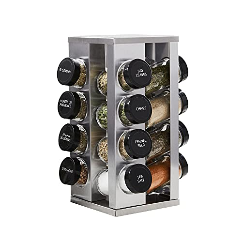 Kamenstein Heritage 16-Jar Revolving Countertop Spice Rack Organizer with Free Spice Refills for 5 Years