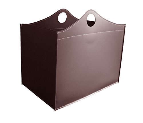 Gavemo Woodbag Limited Edition : panier à bois de chauffage en cuir marron foncé, rangement pour bois de chauffage, bûches de bois, support pour bois de chauffage, support pour bois de chauffage.
