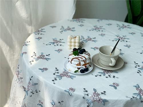 Mantel con Bordado Floral Retro, Material de Gasa, Mantel Rectangular para decoración de Mesa de Comedor, Banquete, Hotel, Cubierta de Mesa, Gris, 100x135cm