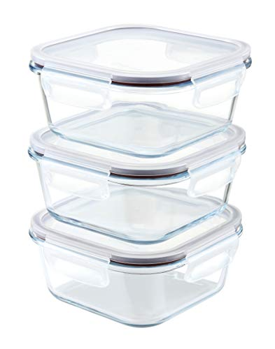 Franklin Lade 3 Piece Square Glass Food Storage Container Set 800ml | BPA-Free Leak-Proof Lids + 3 Spare Silicone Seals | Glass Food Containers with Lids | Microwave, Oven, Freezer & Dishwasher Safe