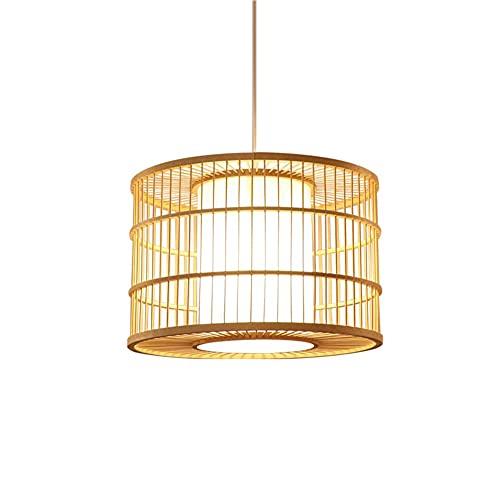 wangch Lámpara Colgante De Linterna De Bambú,Lámpara Colgante Creativa De Jaula De Pájaros De Bambú,Lámpara De Ratán Natural,Pantalla De Bambú E27,Accesorios De Iluminación para Decoración De Techo