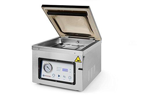 HENDI Vakuum-Verpackungsmaschine, Vakuumiergerät, Vakuum Kammer Verpackungsmaschine, Schweißleiste: 300mm, Pumpenleistung: 133,3 l/min, 230V, 950W, 359x425x(H)356mm, Edelstahl
