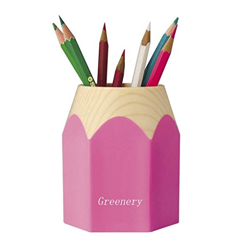 New Creative Pencil Tip Design Pen Pencil Holder Office Home Makeup Brush Pot Cabinet Desk Pencil Cup Tidy Stationery Study Work Supplies Organizer Desk Container Box Pink