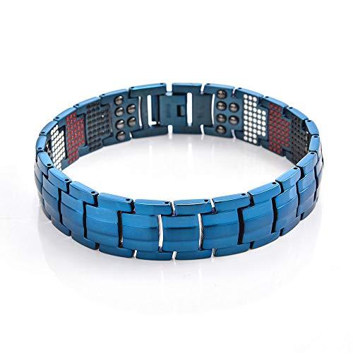 Pulsera Para Hombres Cuatro en Uno Elemento RadiacióN EnergéTica Terapia MagnéTica Antifatiga Mejora el SueñO Promueve Pulsera Para la CirculacióN SanguíNea (Negro, Plata, Azul, Oro Intermitente, Or