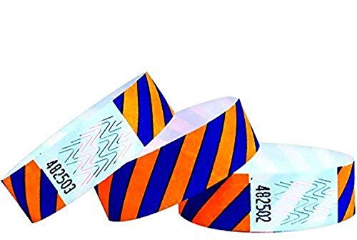 500 pezzi - 19 mm 3/4' Tyvek Wristbands, Tyvek Braccialetti, Tyvek Bracciali, Festival Braccialetti, Night-Club Braccialetti (Blue-Orange, 500 Pack)