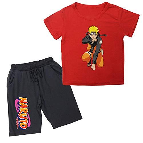 YANJJ Deportes Infantiles Traje De Manga Corta Dibujos Animados De Tela De Algodón Naruto Impreso Camiseta Casual Children's Traje Adecuado para Niños De 2 A 14 Años Red3-90