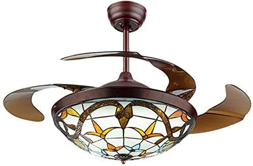 """Moerun 42"""" Tiffany Style Ceiling Fan with Light Classic LED Chandelier Remote Control Retractable Blades 3 Speeds 3 Light Changes Ceiling Lamp Lighting Fixture, Silent Motor Craft-Made Colorful Lamps"""
