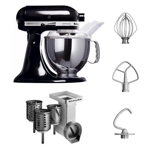 Kitchenaid Kitchenaid KSM150PSEOB MVSA 5KSM150PSEOB Food Processor Series'Artisan' più accessori per Taglia verdure/meccanismo tagliere con 3 tamburi, nero