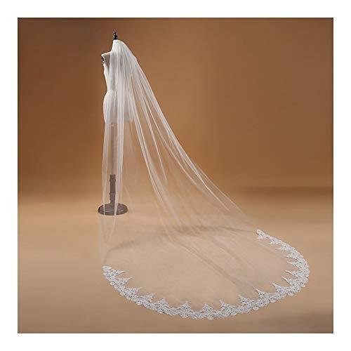 LSBXWL 3M One Layer Lace Edge Weiß Elfenbein Kathedrale Brautschleier Lange Brautschleier Günstige Hochzeit Zubehör (Color : Beige)