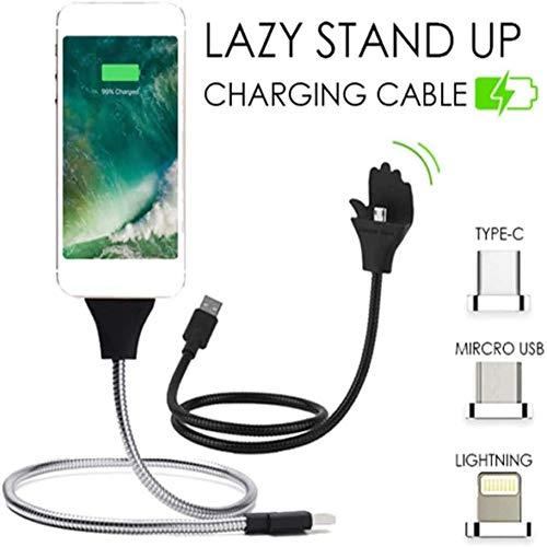 Lazy Stand Up Charging Cable,Soporte para teléfono flexible Soporte Cargador USB (Para Tipo-C, Negro)