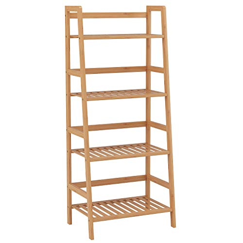 Homfa 4 Tier Ladder Shelf Unit Bamboo Storage Shelves Bookcase Stand Shelves Plant Stand 48x32x116cm (Natural)