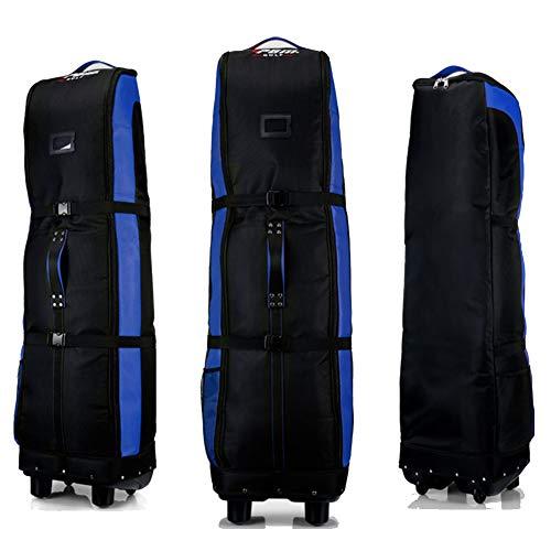PGM Golf Bolsa de Viaje, con Ruedas – - Doble de la Cubierta, Grueso, Impermeable, Nailon, con Base, Negro/Azul