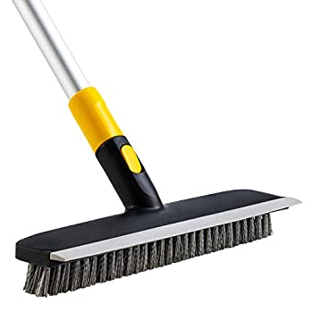Yocada Floor Scrub Brush 2 in 1 Scrape Brush Stiff Bristle 51  Long Adjustable Telescopic Shower Scrubber for Cleaning Bathroom Patio Kitchen Garage Wall Deck Tub Tile