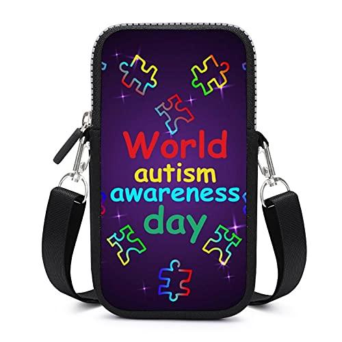 Bolso bandolera para teléfono móvil con correa de hombro extraíble, Día Mundial de la Conciencia del autismo a prueba de sudor, funda para brazalete de dinero, bolsa de yoga para niñas