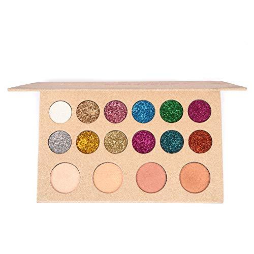 Allwon Glitter Lidschatten Gepresste Glitter-Make-up-Palette Pigmentierter Schimmer Rainbow Bold...