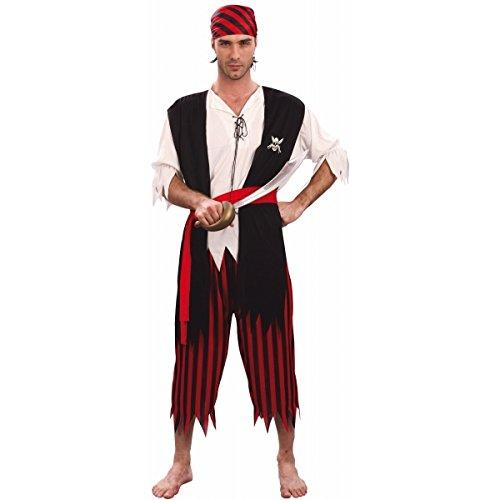 Party Pro- Déguisement de pirate, Mens, 87289926, Rouge, M/L