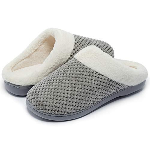 Kuako Hausschuhe Damen Winter Wärme Memory Foam Pantoffeln Bequem Plüsch rutschfeste Leicht Slippers Indoor,grau 40/41 EU(280)