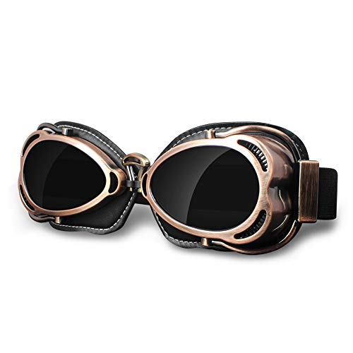 Vintage Motorcycle Ridding Goggles, UV Protection Windproof Dustproof Vintage Aviator Pilot Goggles