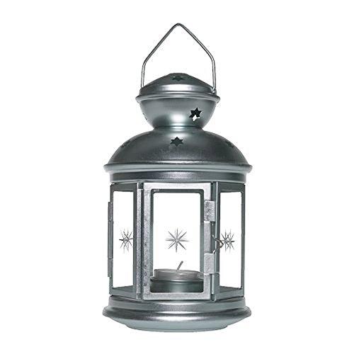 IKEA ROTERA - Laterne für Teelicht - Windlicht silber/verzinkt- 21 cm - innen/außen