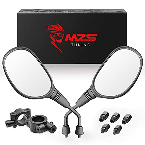 MZS ATV Mirrors | Motorcycle Rear View Round Side Mirror 7/8 Handlebar Mount Compatible with Dirt Bike Quad Street Bike Adventure Snowmobile Jet ski Scooter Coolster Moped GY6 ATVs