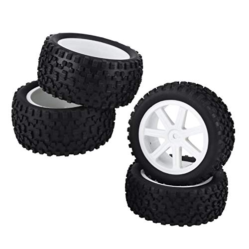 Neumático de Goma para camión, 4pcs 1/10 RC Camión Neumático de Goma para Rueda de Coche 1:10 ZD(Blanco)