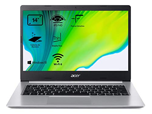 Acer Aspire 5 A514-53 - Ordenador Porttil 14' HD (Intel Core i5-1035G1, 12GB RAM, 512GB SSD, Intel HD Graphics, Windows 10 Home), Color Plata - Teclado Qwerty Espaol
