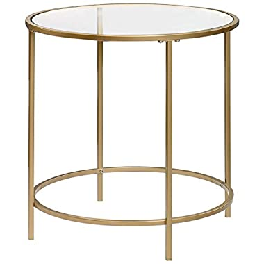 Sauder International Lux Round End Table in Satin Gold