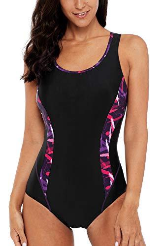 CharmLeaks Womens Competitive Swimsuit Water Aerobic Swimwear Lap Bathing Suit M
