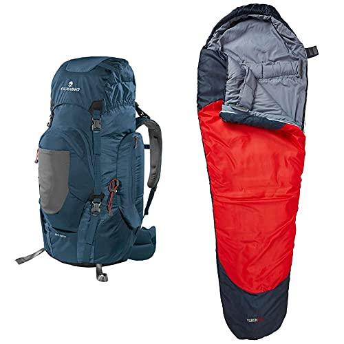 Ferrino Chilkoot, Zaino Da Trekking Unisex, Blu, 90 L & Yukon Pro, Sacco A Pelo Uomo, Rosso Scuro, S