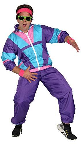 Foxxeo 80er Jahre Kostüm für Herren - türkis lila rosa - Trainingsanzug Fasching Karneval Motto-Party, Größe:XL