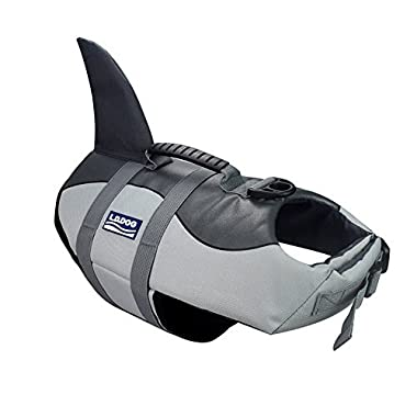 Dog Life Jacket, Adjustable Pet Life Preserver Safety Dog Swimming Pool Vest, Novice Swimmer Life Jacket for Pets, Water Safety at the Pool, Beach, Boating (shark, Medium)