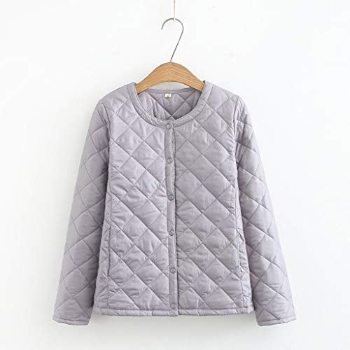 TWDYC 4XL Plus Size Leichter Baumwollmantel Damen Winter Warm Liner Kragenloser Mantel mit Knöpfen Weibliche Slim Jacken (Color : Gray, Size : XXX-Large)
