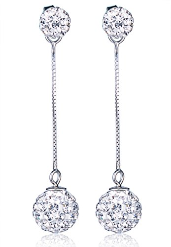 Yumilok Pendientes de plata de ley 925 con doble bola de cristal, hipoalergénicos, para mujeres y niñas